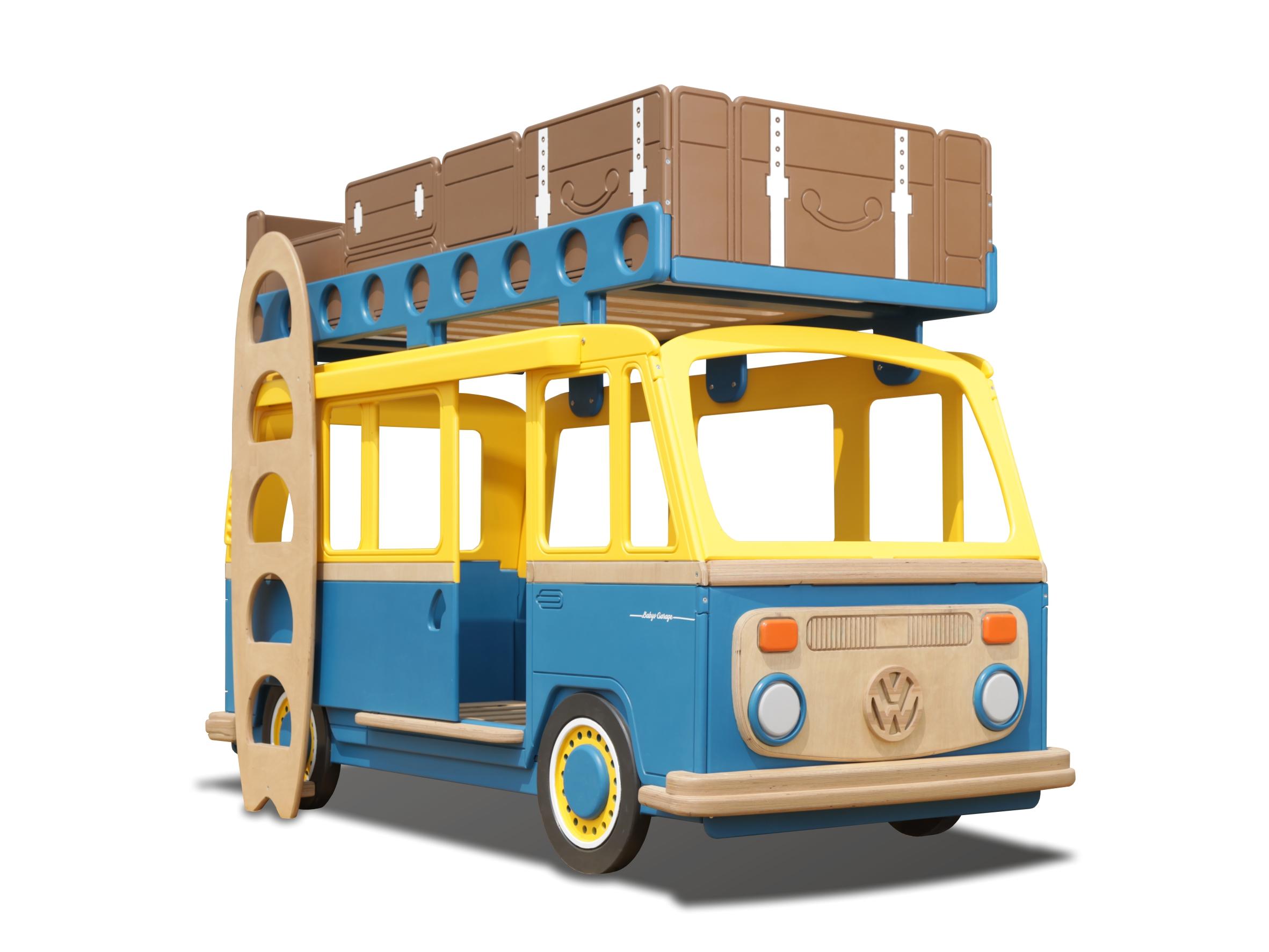 Двухярусная кровать Camper TwoПодростковые кровати<br>Кровать изготовлена по классическим формам Volkswagen Camper. Кровать сделана вручную из натуральной высокосортной березовой фанеры. Корпус покрыт гипоаллергенной акриловой эмалью на водной основе. Качество и экологичность соответствует всем действующим европейским нормам и подтверждается сертификатами.&amp;amp;nbsp;&amp;lt;div&amp;gt;&amp;lt;br&amp;gt;&amp;lt;/div&amp;gt;&amp;lt;div&amp;gt;В комплекте идут два детских ортопедических матраца.&amp;amp;nbsp;&amp;lt;/div&amp;gt;<br><br>Material: Дерево<br>Length см: 215<br>Width см: 105<br>Height см: 150