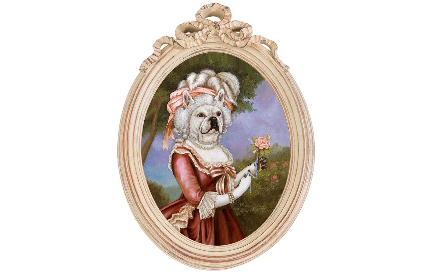 Репродукция гравюры Музейный экспонат, версия 44Картины<br>Прототипом персонажа Музейный экспонат (версия 44) послужил портрет Марии-Антуанетты с розой, написанный Элизабет Виже-Лебрен в 1783 года. Мария-Антуанетта — королева Франции, младшая дочь императора Франца I и Марии-Терезии, с 1770 года - супруга короля Франции Людовика XVI.&amp;nbsp;Рама Бернадетт - счастливая встреча золотых столетий французской культуры.&amp;nbsp;Искусная техника состаривания придает раме специфический уют и обаяние. Профессиональная печать на холсте детально передает каждое движение кисти художника. Удобное крепление рамы позволит без труда разместить её на стене.Материал рамы - полистоун. Репродукция отпечатана на холсте.<br><br>kit: None<br>gender: None