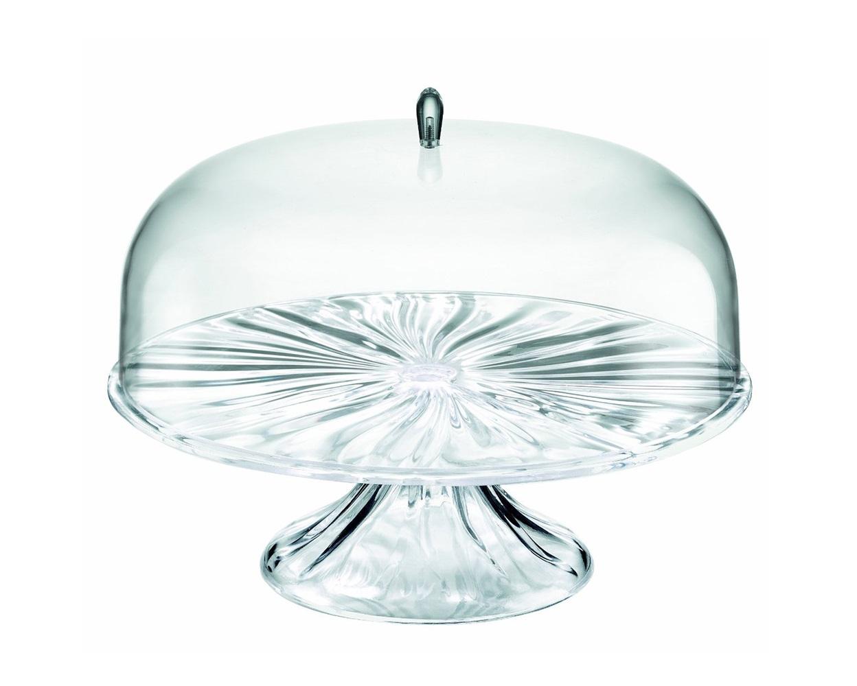 Тортовница с крышкой AquaПодставки и доски<br>Тортовница с прозрачной крышкой Aqua станет блестящим дополнением к любому праздничному столу или чаепитию на свежем воздухе. Её главное украшение - нижняя часть, напоминающая волнистые изгибы поверхности воды. Изысканная форма привлечёт внимание окружающих, а прозрачная крышка позволит насладиться аппетитным видом содержимого. Идеальна для хранения и сервировки выпечки, сладостей, тортов и закусок. <br><br>Изготовлена из безопасного пищевого пластика, устойчивого к износу и повреждениям. Можно мыть в посудомоечной машине.<br><br>Material: Пластик<br>Height см: 27<br>Diameter см: 25,6