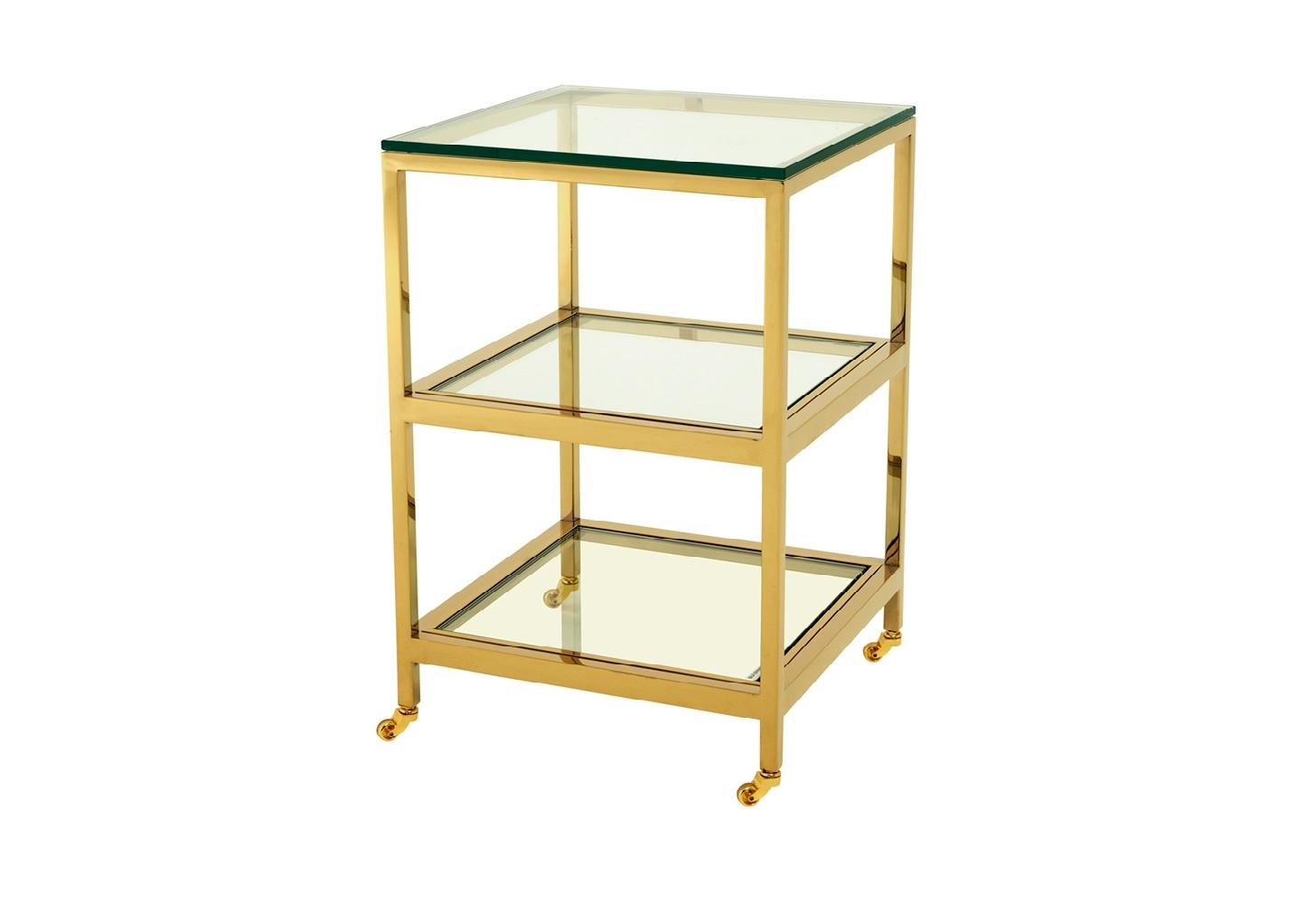 Столик Side Table HuttonПриставные столики<br>Приставной столик Side Table Hutton на металлическом основании. Столешница выполнена из плотного прозрачного стекла.<br><br>Material: Стекло<br>Width см: 45<br>Depth см: 45<br>Height см: 71