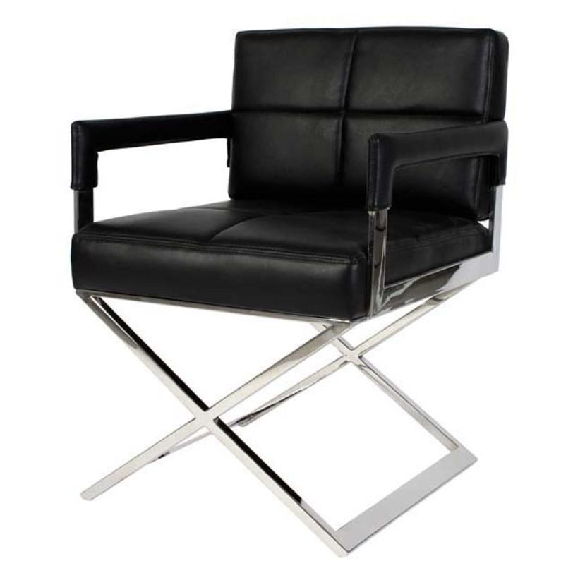 Кресло  EichholtzКожаные кресла<br>Скрещенные никелевые ножки обладают элегантностью промышленного дизайна и одновременно напоминают о кресле режиссера. В сочетании со строгим сиденьем из черной кожи они смотрятся контрастно. Противоречивый силуэт, комбинирующий в себе простоту и оригинальность, делает кресло &amp;quot;Eichholtz&amp;quot; лучшим вариантом декора для сдержанных интерьеров рабочих кабинетов, которым вы хотите придать изюминку.&amp;amp;nbsp;&amp;lt;div&amp;gt;&amp;lt;br&amp;gt;&amp;lt;/div&amp;gt;&amp;lt;div&amp;gt;Материал: никель/черная кожа.&amp;lt;/div&amp;gt;<br><br>Material: Кожа<br>Width см: 56<br>Depth см: 60<br>Height см: 79