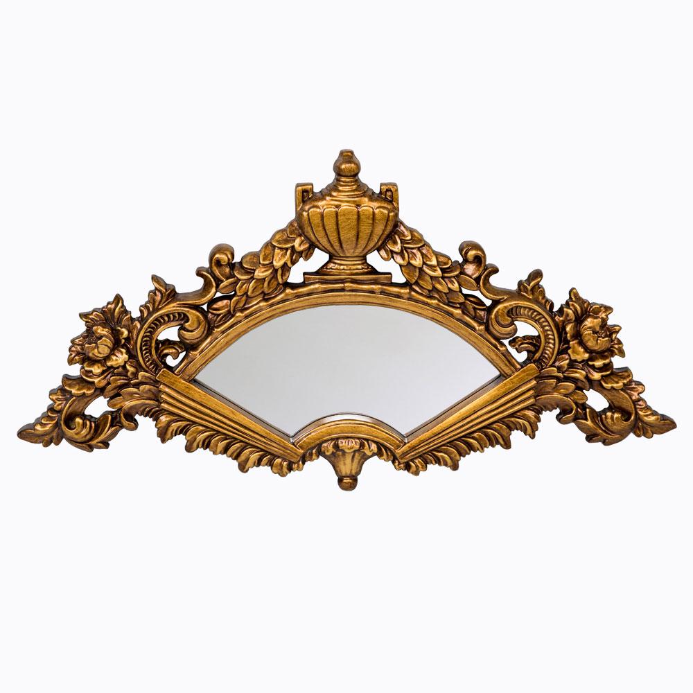 Настенное зеркало «Севилья»Настенные зеркала<br>Распахнутый веер, цветочный вазон, лавровые каскады: пышный богемный рельеф зеркала &amp;quot;Севилья&amp;quot; внушает интерьеру выразительность и яркое артистичное настроение. Яркий узор классического &amp;quot;рококо&amp;quot; близок интерьерам в жанрах романской классики и &amp;quot;ренессанса&amp;quot;, салонного &amp;quot;ар-деко&amp;quot; и семейного &amp;quot;кантри&amp;quot;.   Зеркало  покрыто серебряной амальгамой. Рама изготовлена из полиуретана.  Полиуретан достоверно имитирует любые материалы. На первый взгляд оправа зеркала &amp;quot;Севилья&amp;quot; не отличается от металлической.&amp;lt;div&amp;gt;&amp;lt;br&amp;gt;&amp;lt;/div&amp;gt;&amp;lt;div&amp;gt;Материал:&amp;amp;nbsp;рама - полиуретан, зеркало с серебряной амальгамой, толщина зеркального стекла - 5 мм&amp;lt;br&amp;gt;&amp;lt;/div&amp;gt;<br><br>Material: Полиуретан<br>Width см: 84<br>Depth см: 3.5<br>Height см: 44