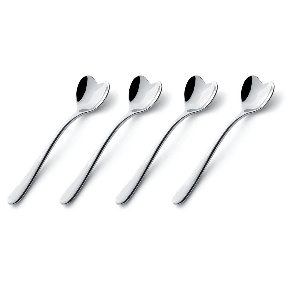 Набор ложек для кофе Ammi08Столовые приборы<br>Дизайнеры бренда Alessi устроили необычный проект &amp;quot;Tea and Coffee Towers&amp;quot;, в котором собрали лучшие дизайны современных предметов для кофе и чая.  Это четыре ложки для кофе, сделанные в форме сердца.&amp;lt;div&amp;gt;&amp;lt;br&amp;gt;&amp;lt;/div&amp;gt;&amp;lt;div&amp;gt;Длина ложек - 10 см.&amp;lt;/div&amp;gt;<br><br>Material: Сталь<br>Ширина см: 10.0
