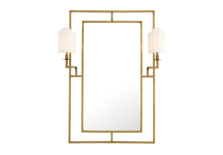 ЗеркалоНастенные зеркала<br>Зеркало Mirror Astaire в металлической раме цвета латунь. На зеркале расположены 2 бра с текстильными абажурами белого цвета.<br><br>Material: Металл<br>Width см: 113<br>Height см: 140