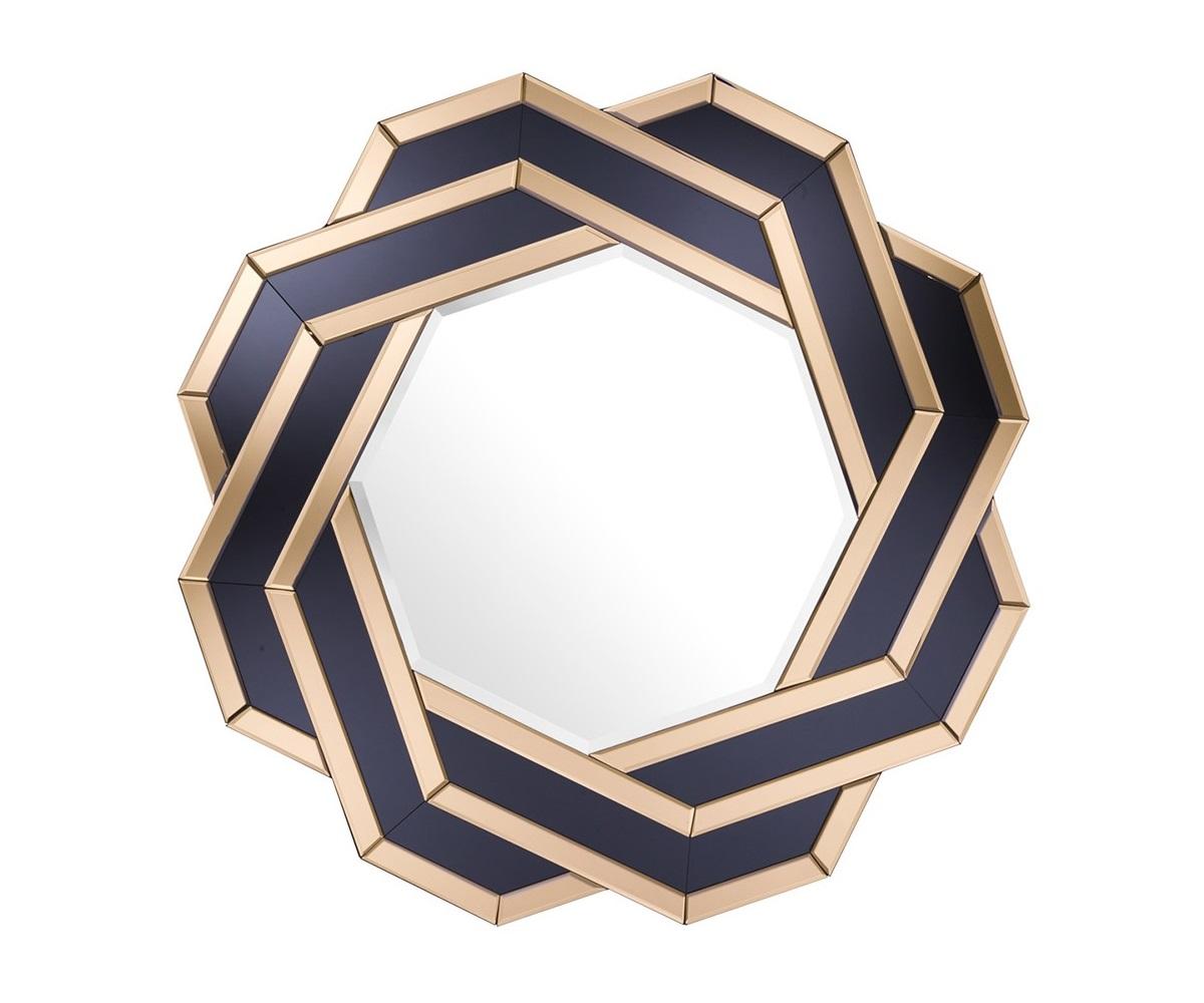 ЗеркалоНастенные зеркала<br>Зеркало Mirror Mulini с оригинальным дизайном. Рамка состоит из зеркальных граней прозрачного и черного цветов.<br><br>Material: Металл<br>Diameter см: 90
