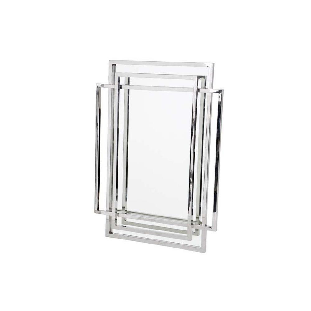 ЗеркалоНастенные зеркала<br>Зеркало Mirror New Classic в раме из нержавеющей стали. Оригинальный дизайн рамы, которая сделана из двух пересекающих друг друга прямоугольников.<br><br>Material: Сталь<br>Width см: 85<br>Height см: 115