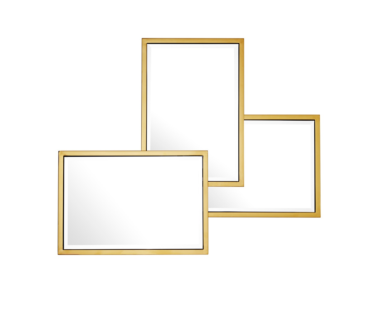 ЗеркалоНастенные зеркала<br>Зеркало Mirror Sensation с имитацией 3-х зеркал в рамках золотого цвета.<br><br>Material: Стекло<br>Width см: 80<br>Height см: 96