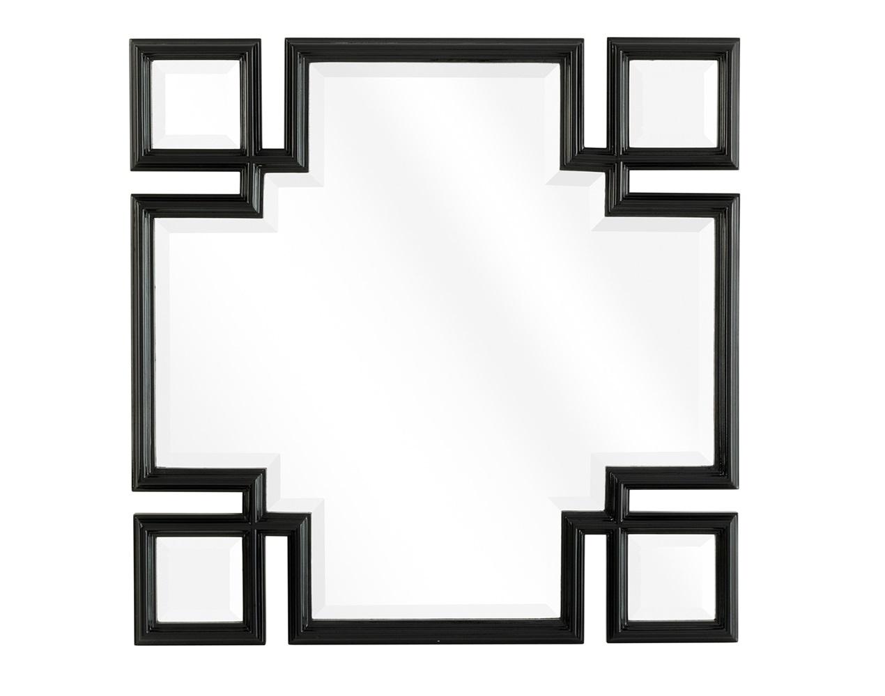 ЗеркалоНастенные зеркала<br>Зеркало Mirror Valencia в раме черного с белым цвета с оригинальным дизайном.<br><br>Material: Дерево<br>Width см: 70<br>Height см: 70