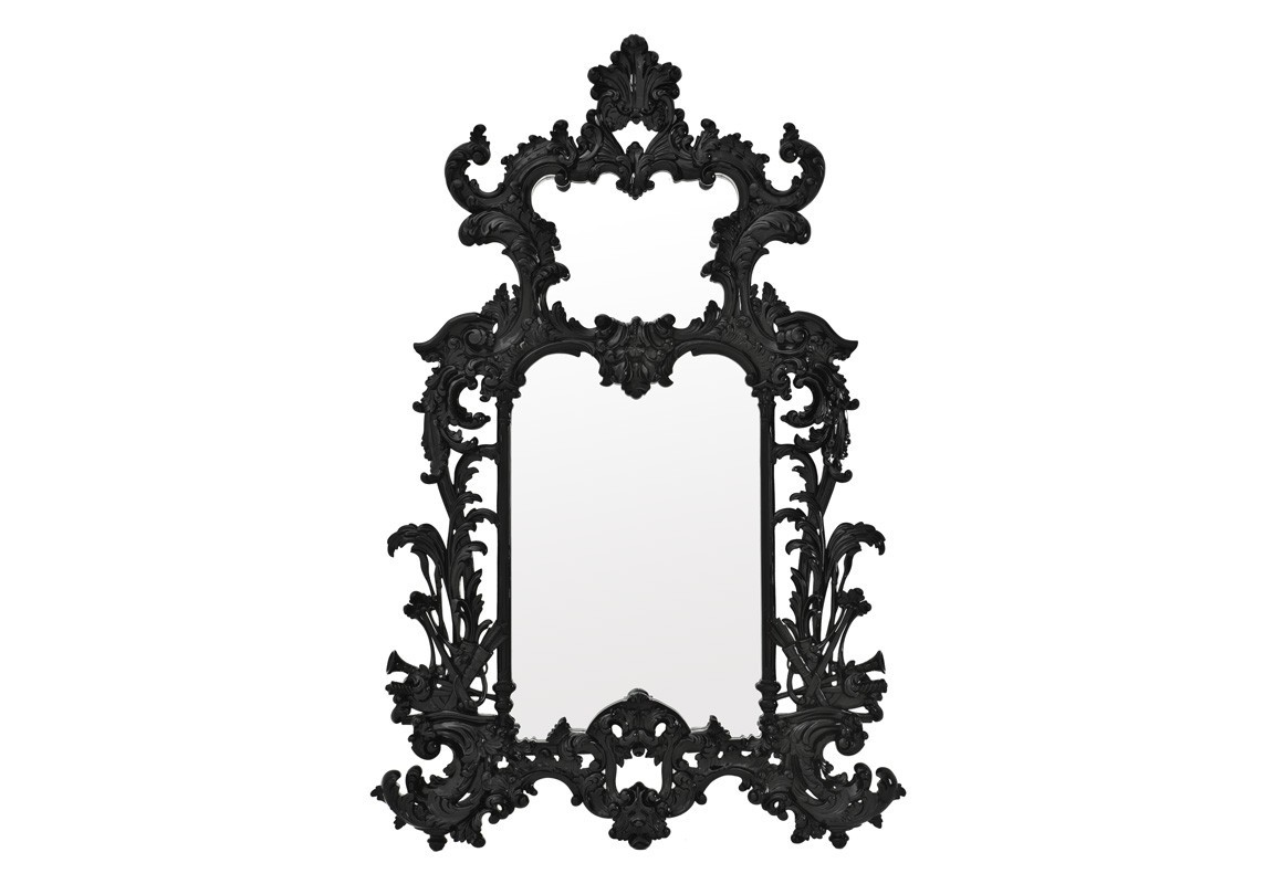 ЗеркалоНастенные зеркала<br>Зеркало Mirror Leighton в резной деревянной раме черного цвета.<br><br>Material: Дерево<br>Width см: 124<br>Height см: 190