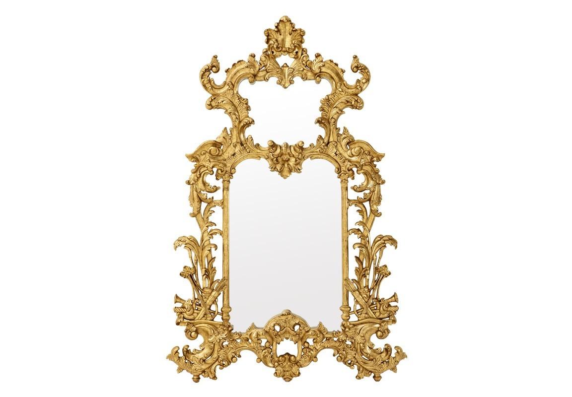 ЗеркалоНастенные зеркала<br>Зеркало Mirror Leighton в резной деревянной раме золотого цвета.<br><br>Material: Дерево<br>Width см: 124<br>Height см: 190