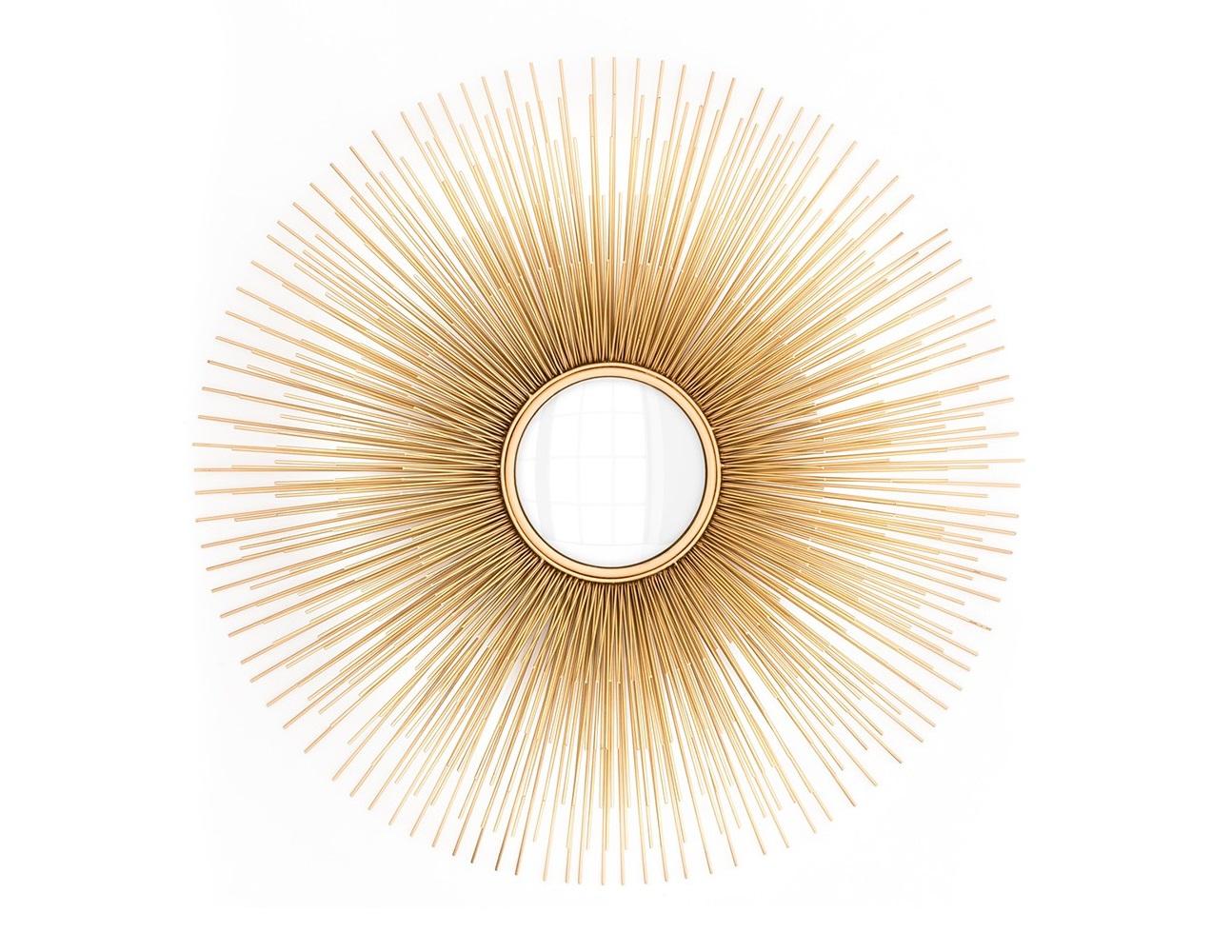 ЗеркалоНастенные зеркала<br>Зеркало Mirror Solaris с оригинальным дизайном в виде солнца. Цвет металла: золотой.<br><br>Material: Стекло<br>Diameter см: 80