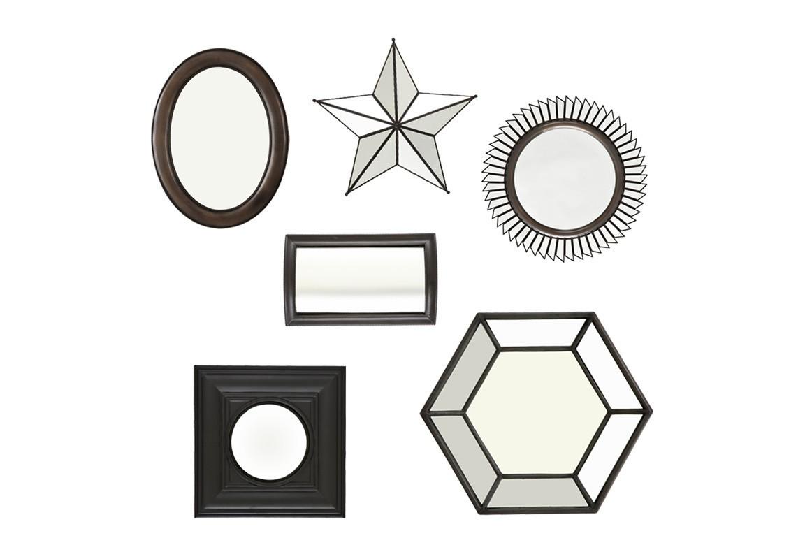 ЗеркалоНастенные зеркала<br>Набор зеркал Mirror Draper set of 6 разной формы и размеров. Зеркала в деревянных рамах черного и коричневого цвета.&amp;amp;nbsp;&amp;lt;div&amp;gt;&amp;lt;br&amp;gt;&amp;lt;/div&amp;gt;&amp;lt;div&amp;gt;Размеры: 61x70 см, 41x53,5 см, 49,5x49,5 см, 41,5x 41,5 см, 49x49 см, 28,5x45,5 см.&amp;lt;/div&amp;gt;<br><br>Material: Дерево