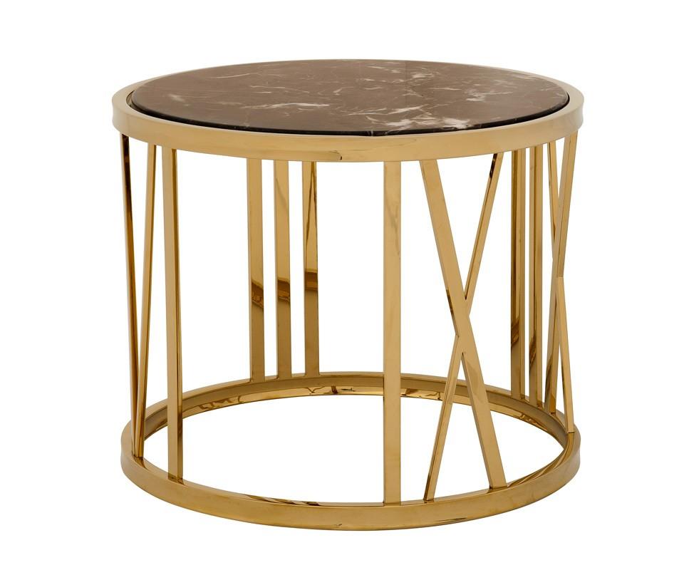 СтолПриставные столики<br>Приставной столик Side Table Baccarat на металлическом основании золотого цвета. Столешница из мрамора коричневого цвета.<br><br>Material: Металл<br>Height см: 50<br>Diameter см: 60