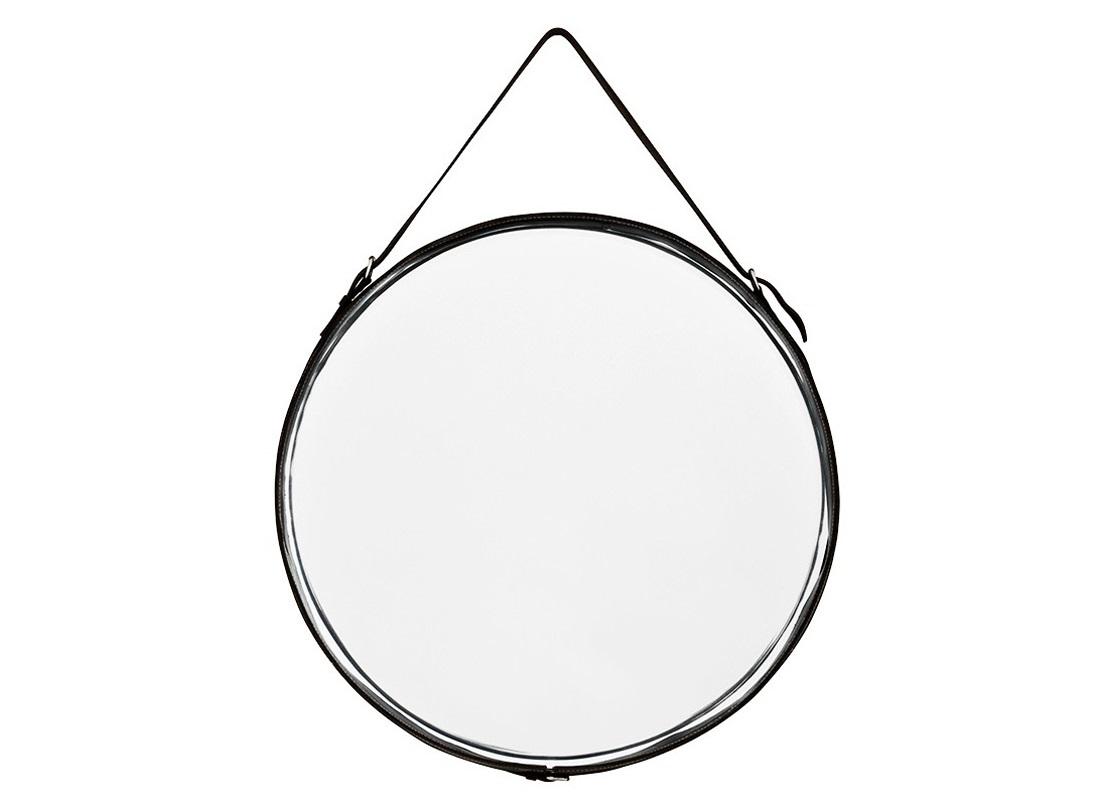 ЗеркалоНастенные зеркала<br>Зеркало в металлической рамке. Оригинальный ремешок и кант по краю зеркала выполнены из кожи черного цвета.&amp;amp;nbsp;<br><br>Material: Кожа<br>Ширина см: 60.0<br>Высота см: 60.0