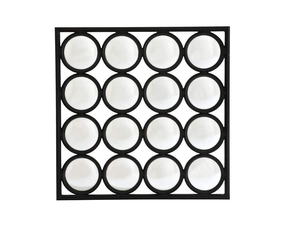 ЗеркалоНастенные зеркала<br>Зеркало Mirror Auguste в деревянной раме черного цвета с оригинальным дизайном. Состоит из выпуклых зеркальных кругов.<br><br>Material: Стекло<br>Width см: 70<br>Height см: 70