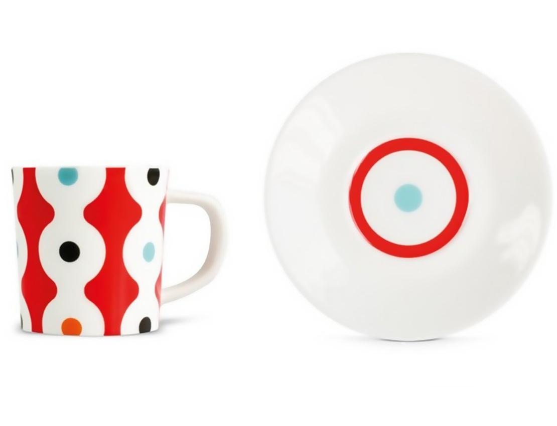 Чашка для эспрессо с блюдцем DotsЧайные пары и чашки<br>Набор из чашки для эспрессо с блюдцем в подарочной коробке. Элегантная форма и яркие цвета добавят хорошего настроения всем любителям кофе. Отличный подарок для себя или знакомых.&amp;amp;nbsp;&amp;lt;div&amp;gt;&amp;lt;br&amp;gt;&amp;lt;/div&amp;gt;&amp;lt;div&amp;gt;Объём 75 мл.&amp;lt;/div&amp;gt;<br><br>Material: Фарфор<br>Height см: 9,2<br>Diameter см: 12,2
