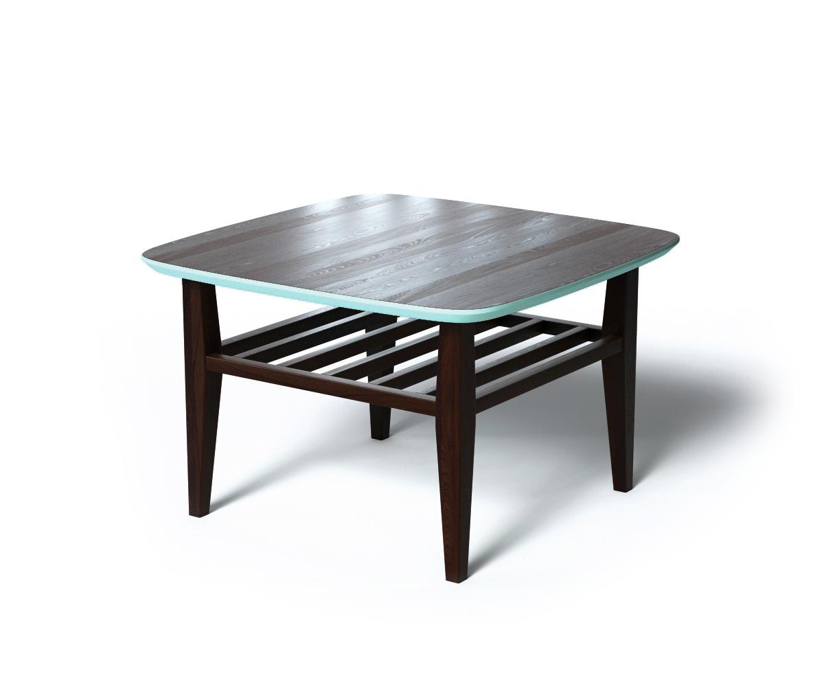 Журнальный стол WILSONЖурнальные столики<br>Сочетание натуральных материалов и природных оттенков делают столик WILSON незаменимым в скандинавских интерьерах. Особое внимание стоит обратить на внешнюю отделку. Основная часть выполнена из натурального дерева темно-коричневого цвета. Цветовой контраст вносит ярко-голубая отделка края столешницы. За практичность отвечают дополнительная реечная полка и скругленные углы.<br><br>Material: Дерево<br>Length см: 70<br>Width см: 70<br>Depth см: None<br>Height см: 45<br>Diameter см: None