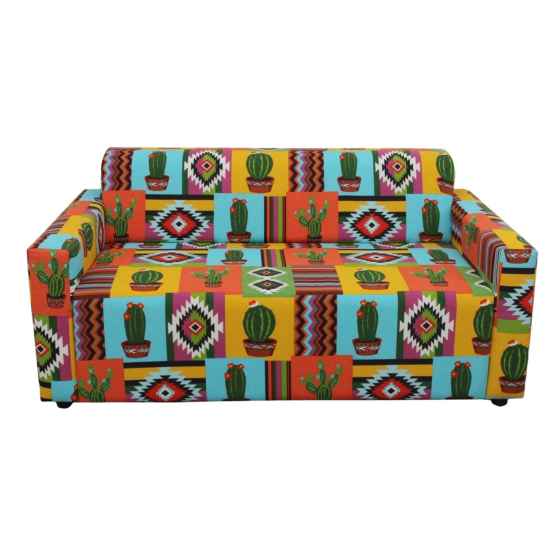 ДиванДвухместные диваны<br>Этот диван покорит вас своей внешним видом! На нем удобно разместились игривые кактусы, прекрасно вписались уютные мексиканские орнаменты и все это сочетается с яркими жизнерадостными цветами! Этот диван - просто коктейль из позитива и комфорта, немного сумасшедший, но такой приятный!<br><br>Material: Текстиль<br>Length см: None<br>Width см: 150<br>Depth см: 80<br>Height см: 65