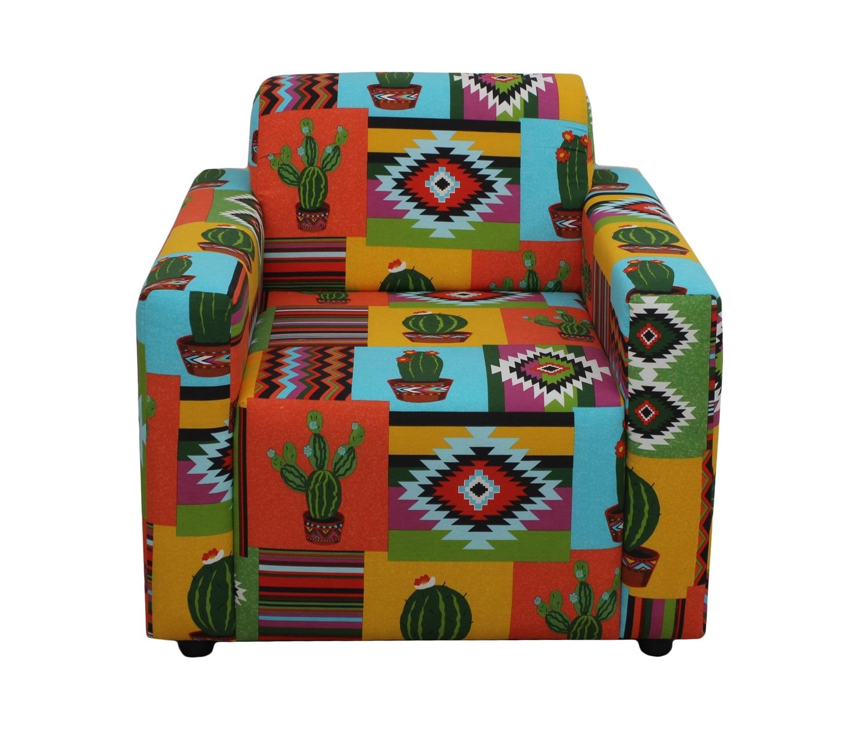 КреслоИнтерьерные кресла<br>Почувствуйте амосферу мексиканского карнавала! Ярко украшенные улицы, необычные традиционные костюмы и маски, музыка, танцы, фейерверки - все это нашло отражение в красочном кресле. Оно не только станет вашим любимым местом отдыха, но и сделает ваш дом действительно особенным!<br><br>Material: Текстиль<br>Ширина см: 80<br>Высота см: 65<br>Глубина см: 75
