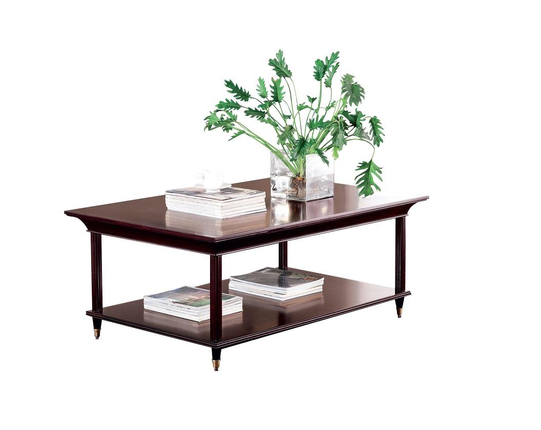 Журнальный столик MestreЖурнальные столики<br>Журнальный столик от итальянского бренда Fratelli Barri выполнен в классическом стиле. Полки столика из красного дерева покрыты лаком, а ножки обрамлены золотыми металлическими наконечниками. Такой столик легко вольется в интерьер гостиной, оформленной в эклектичном или классическом стиле.<br><br>Material: Дерево<br>Length см: 120<br>Width см: 80<br>Height см: 50