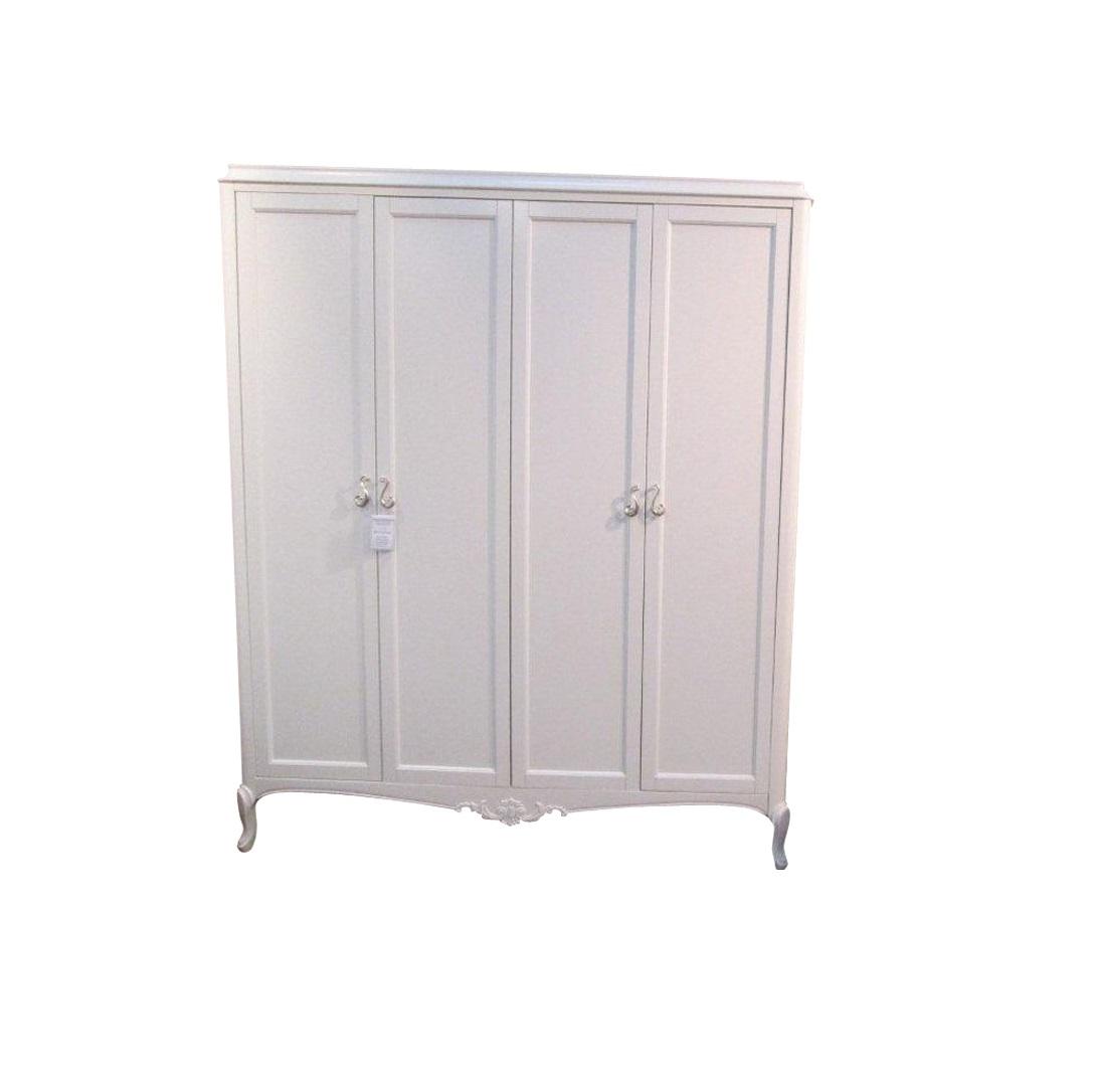 Шкаф FrancaБельевые шкафы<br>Гардероб с распашными дверками выполнен в классическом стиле. Отделка молочно-белый матовый лак. Оригинальность модели придают гнутые ножки и фигурное основание с резными элементами. Сделан из массива тополя и высококачественного МДФ высокой плотности.<br><br>Material: МДФ<br>Length см: None<br>Width см: 174<br>Depth см: 62<br>Height см: 210