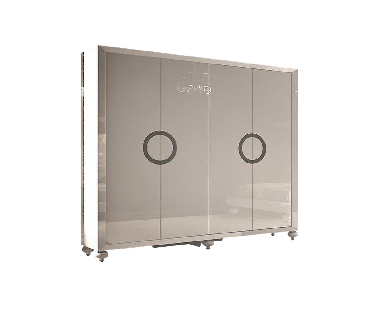 Гардероб  PalermoПлатяные шкафы<br>Гардероб с 4 дверками выполнен в стиле Ар деко. Отделка - белый блестящий лак. Наполнение - в правой части сверху полка и штанга, в левой - сверху полка и штанга, снизу - два ящика.<br><br>Material: МДФ<br>Высота см: 220<br>Глубина см: 60