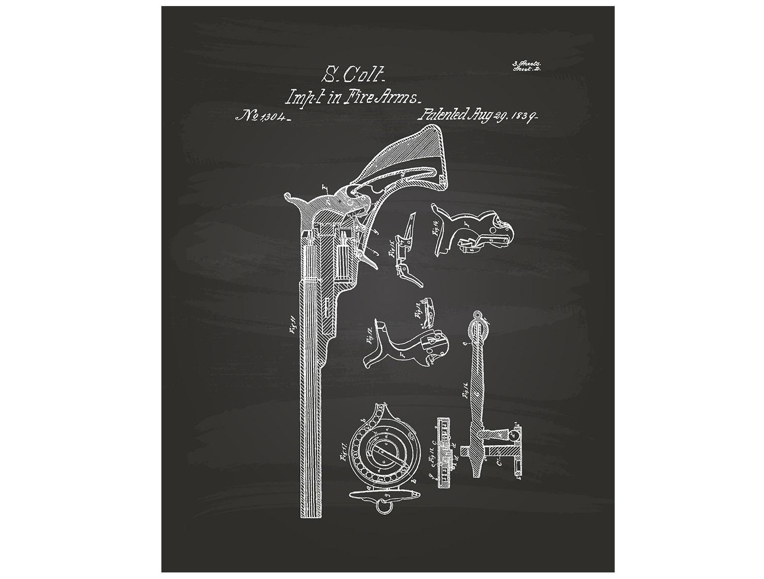 Постер Colt 1839Постеры<br><br><br>Material: Холст<br>Ширина см: 40<br>Высота см: 60<br>Глубина см: 6