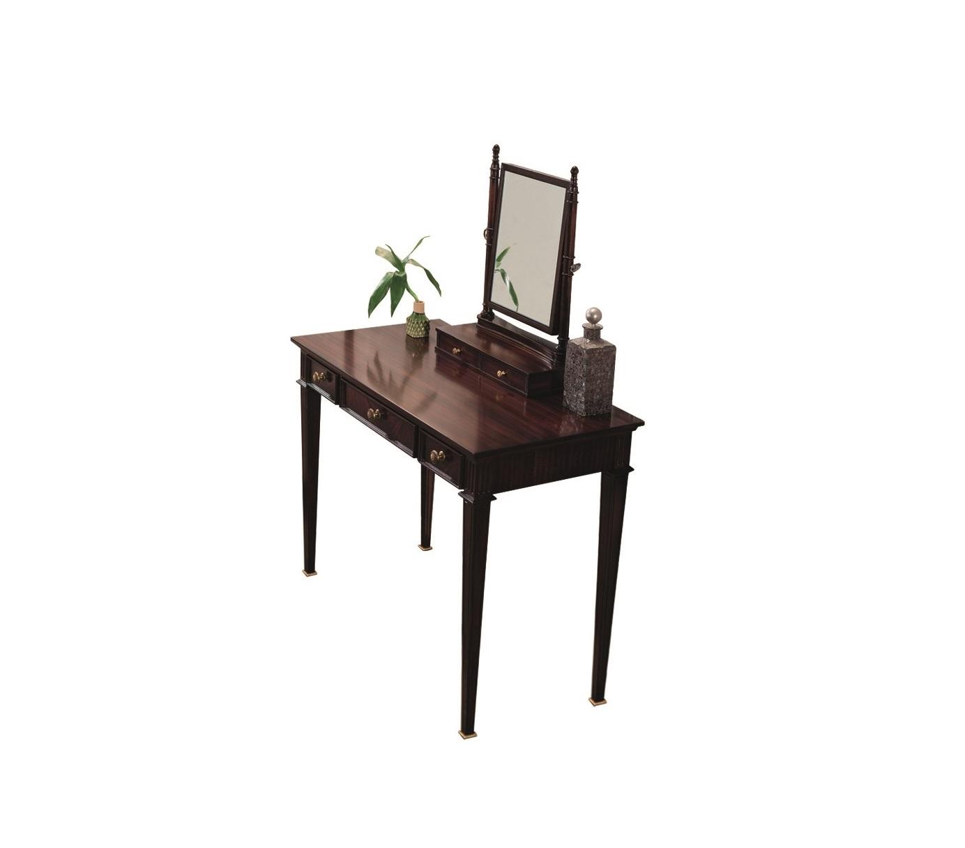 Туалетный столик MESTREТуалетные столики<br>Туалетный столик &amp;quot;Mestre&amp;quot; ? отличный вариант для тех, кто любит роскошь, но не приемлет щегольства. Изысканные тонкие ножки, простые формы, резные детали и миниатюрные ящички, имеющие благородный цвет горького шоколада, рождают великолепный дизайн в стиле неоклассика.&amp;lt;div&amp;gt;&amp;lt;br&amp;gt;&amp;lt;/div&amp;gt;&amp;lt;div&amp;gt;Туалетный столик без зеркала.&amp;lt;/div&amp;gt;<br><br>Material: МДФ