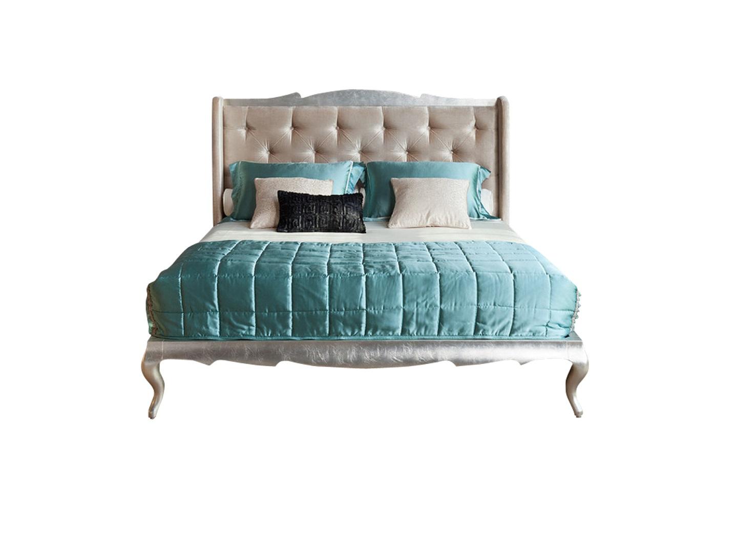 Кровать с решеткой VENEZIAКровати с мягким изголовьем<br>Кровать на гнутых ножках выполнена в стиле Ар деко. Высокое изголовье с загнутыми боковинками обито светло-бежевым велюром (R6012A-40). База и ножки в отделке сусальное серебро. Сделана из высококачественного МДФ высокой плотности и массива дерева.<br>Поставляется с решеткой, без матраса. Размер спального места 180*195 см.<br>Комплектуется решеткой производства России.<br><br>Material: Велюр<br>Length см: 219<br>Width см: 196,8<br>Depth см: None<br>Height см: 139,1