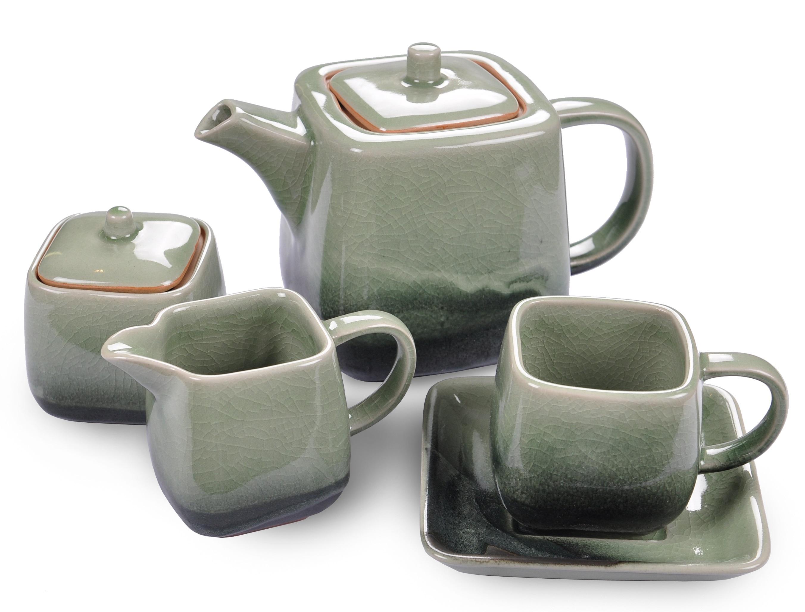 Кофейный сервиз AdamarКофейные сервизы<br>Цвета посуды из коллекции &amp;quot;Adamar&amp;quot; удивительным образом повторяют естественный градиент нефрита Ланьтянь и Сюянь, редких поделочных сортов, особенно почитаемых в древнем Китае. Красоту нефрита здесь сравнивали с самыми благородными качествами человека. Посуда, созданная в этом стиле, станет прекрасным подарком для тех, кто ценит традиции и стиль.&amp;amp;nbsp;&amp;lt;div&amp;gt;&amp;lt;br&amp;gt;&amp;lt;/div&amp;gt;&amp;lt;div&amp;gt;В сервиз входит:&amp;amp;nbsp;&amp;lt;/div&amp;gt;&amp;lt;div&amp;gt;Кофейник с крышкой - 1 шт - длина 20,3 см., ширина 12 см., высота 14 см.,&amp;amp;nbsp;&amp;lt;/div&amp;gt;&amp;lt;div&amp;gt;сахарница с крышкой - 1шт - длина 7,6 см., ширина 7,6 см., высота 8,9см.,&amp;amp;nbsp;&amp;lt;/div&amp;gt;&amp;lt;div&amp;gt;сливочник - 1 шт - длина 14 см.,ширина 7,6 см., высота 8,9 см.,&amp;amp;nbsp;&amp;lt;/div&amp;gt;&amp;lt;div&amp;gt;кофейная пара - 6 шт - чашка - 150 мл., длина 11,4 см., ширина 8 см., высота 7,6 см.,&amp;amp;nbsp;&amp;lt;/div&amp;gt;&amp;lt;div&amp;gt;блюдце - длина 14 см., ширина 14 см., высота 1,5 см.&amp;lt;/div&amp;gt;<br><br>Material: Керамика