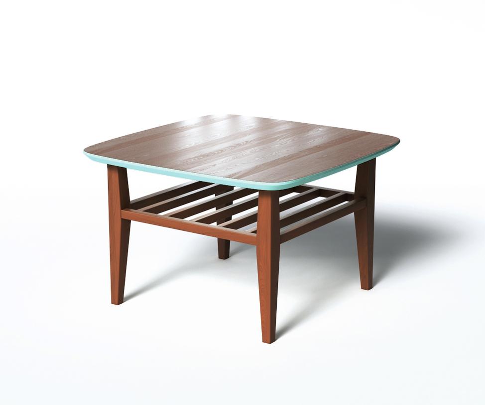 Журнальный стол WILSONЖурнальные столики<br>Журнальный столик WILSON в стиле скандинавского минимализма привлекает внимание оригинальной отделкой. Основная часть выполнена &amp;amp;nbsp;из натурального дерева темно-коричневого цвета. Оформление нижней поверхности столешницы в ярко-бирюзовый добавит смелости обстановке. За практичность отвечают дополнительная реечная полка и скругленные углы.<br><br>Material: Дерево<br>Length см: 70<br>Width см: 70<br>Depth см: None<br>Height см: 45<br>Diameter см: None