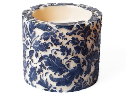 "Свеча ""Damask Leaf Pillar Blue"""