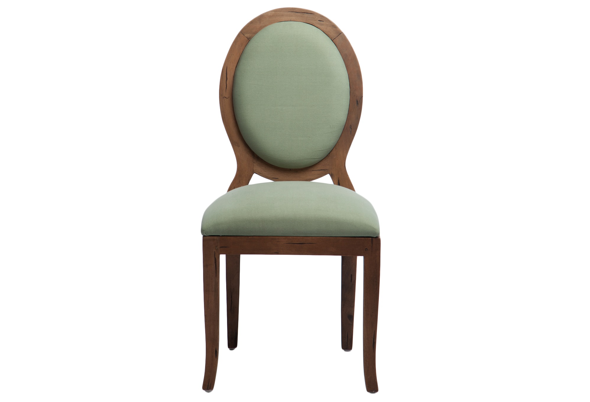СтулОбеденные стулья<br>Стул из массива дерева махагони с зеленой обивкой. Спинка с задней стороны украшена декоративной фурнитурой в виде кольца.<br><br>Material: Красное дерево<br>Width см: 58<br>Depth см: 50<br>Height см: 103