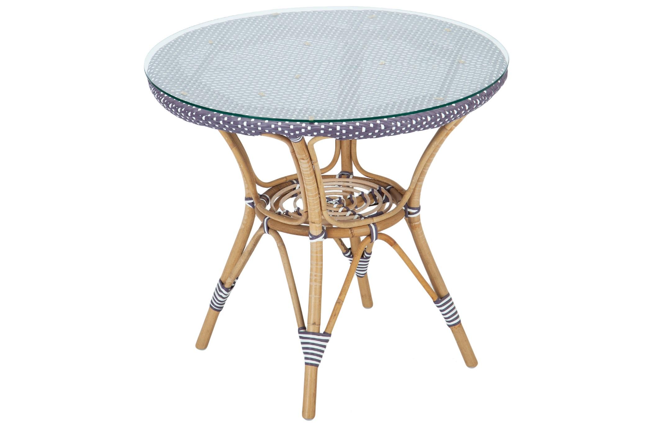 СтолСтолы и столики для сада<br>Стол из ротанга, столешница из прочного синтетического волокна, сверху покрывается прозрачным стеклом.В дополнение к столу в коллекции представлены стулья и полукресла из ротанга.<br><br>Material: Ротанг<br>Высота см: 73