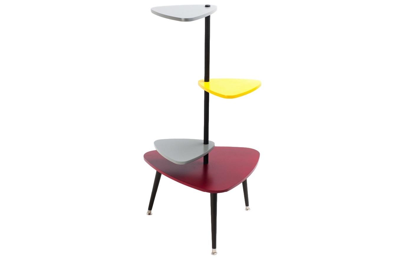 ЭТАЖЕРКА DUCKСтеллажи и этажерки<br>Этажерка Duck – это дань уважения модернизму 50-х годов в мебели. Необычная конструкция этажерки делает ее декоративной и утонченной, давая возможность легко менять верхние полки между собой. Будет отлично смотреться в любом помещении. Материал: Верх и низ большей столешницы покрашены в бордовый цвет и покрыты лаком; верх и низ меньших столешниц покрашены в темно-серый и желто-горчичный и покрыты лаком; конструкция этажерки и ножки покрашены в темно-коричневый цвет.<br><br>Material: МДФ<br>Length см: 60<br>Width см: 60<br>Depth см: None<br>Height см: 140<br>Diameter см: None