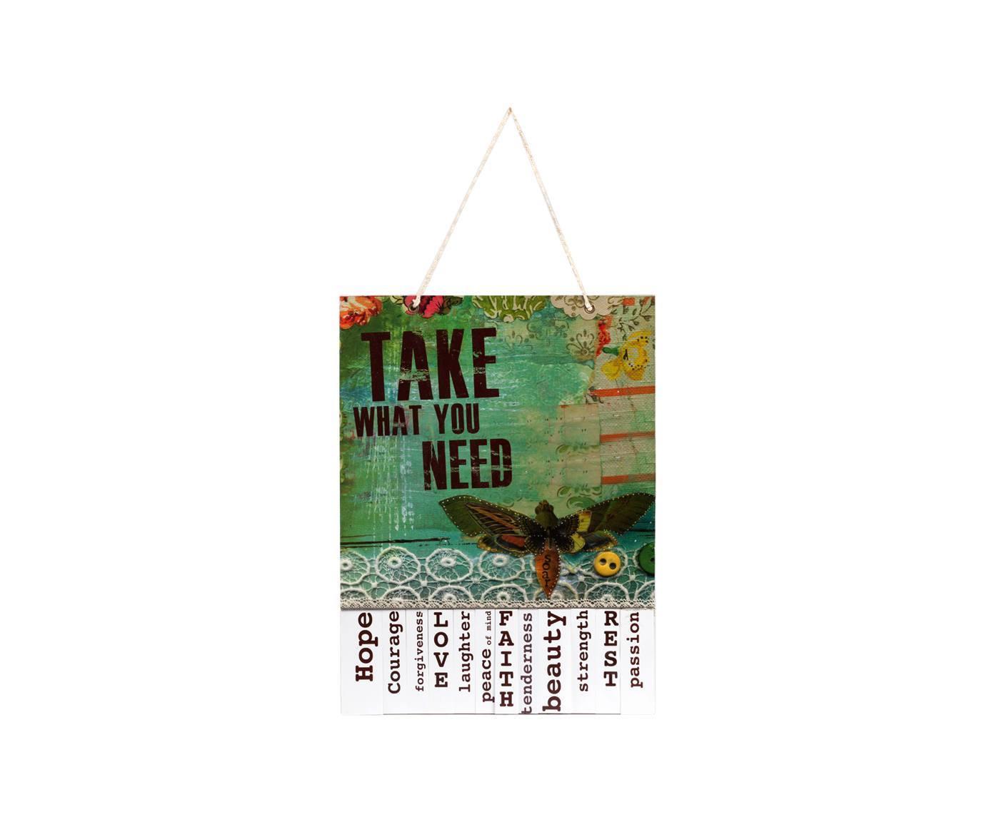 Предмет декора доска желаний Take What You Need MintДругое<br>Элемент декора — доска желаний Take What You Need Mint — это яркий и насыщенный аксессуар, который украсит собой стены вашего дома и добавит ему красочности, уюта и некоей игривости. Говорящая надпись (в переводе с английского означает «берите все, что вам нужно») на основании из МДФ и очаровательные рисунки не оставят равнодушным ни одного члена вашей семьи. Доску можно приобрести отдельно или в паре с предметом декора той же коллекции.<br><br>Material: МДФ<br>Width см: 31<br>Height см: 41