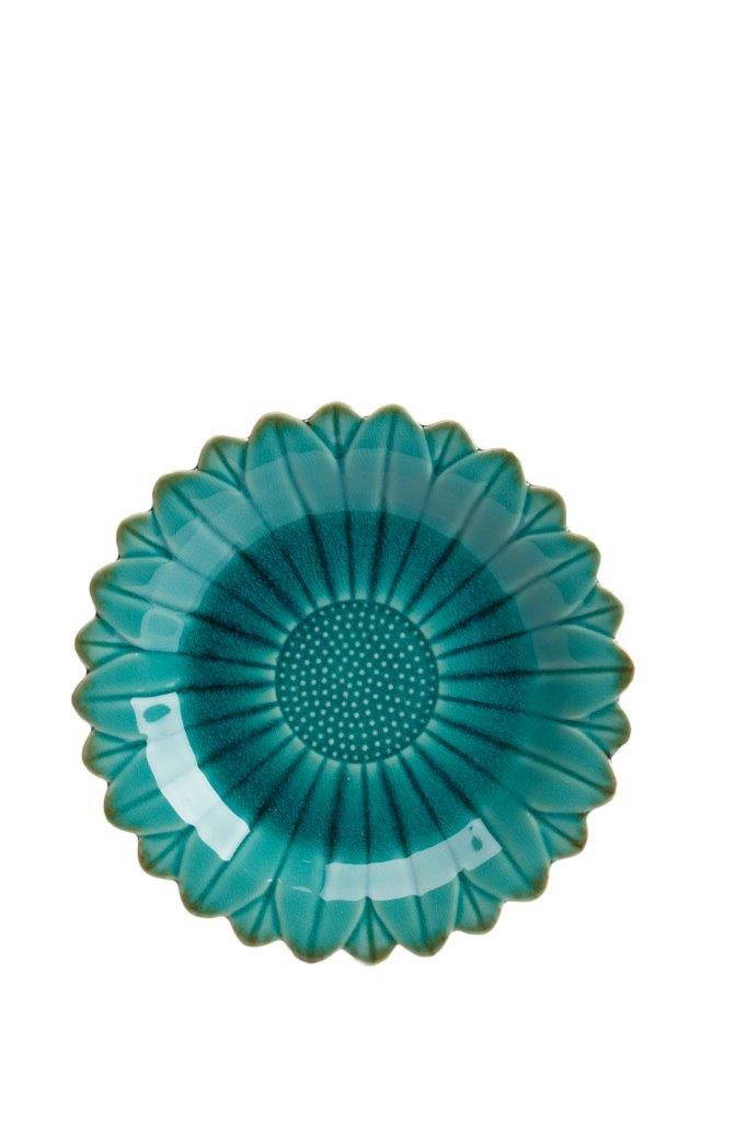 Тарелка Sunflower GrandeТарелки<br>Керамическая тарелка в форме подсолнуха из керамики, окрашенной в актуальный цвет – аквамарин. Можно собрать всю коллекцию сервиза или же сочетать ее с другой посудой в стиле кантри.<br><br>Материал: Грубая керамика<br>Цвет: Аквамарин<br><br>Material: Керамика<br>Depth см: 3.5<br>Diameter см: 25