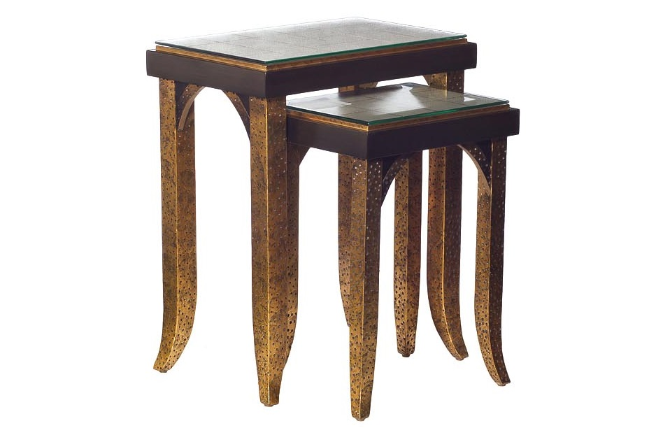 Набор столиков (2шт)Приставные столики<br>Размеры:&amp;amp;nbsp;56х37х66,41х30х57<br><br>Material: Стекло