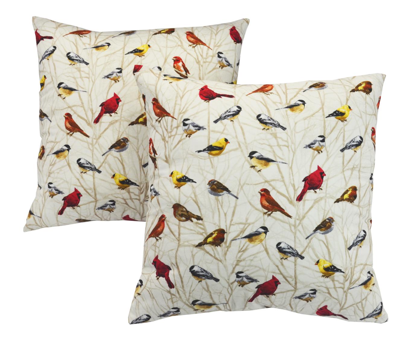 Комплект подушек Веселые птичкиКвадратные подушки и наволочки<br>Декоративная  подушка .Чехол съемный.<br><br>Material: Вискоза<br>Length см: None<br>Width см: 40<br>Depth см: 15<br>Height см: 40