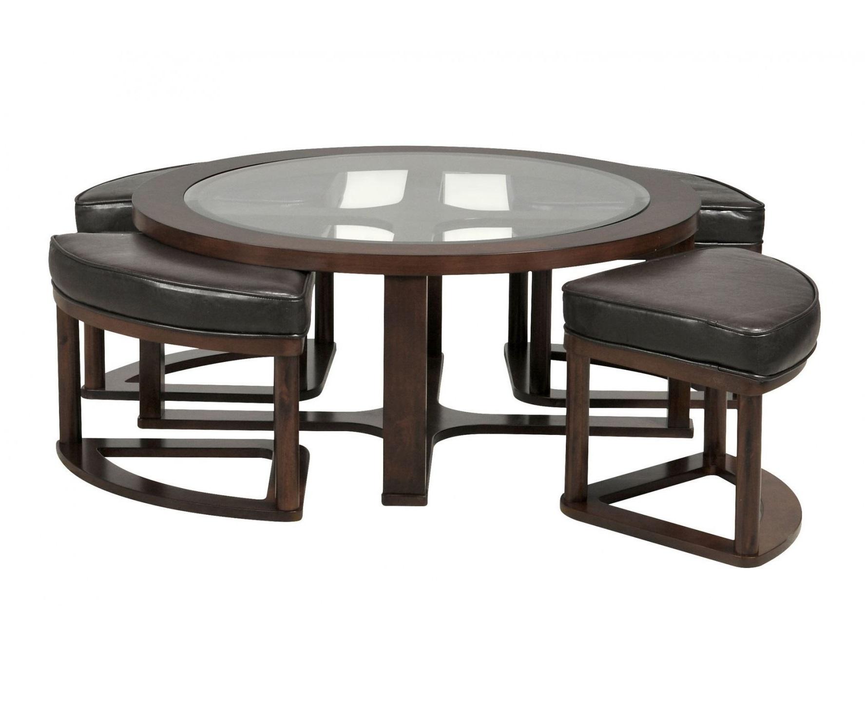 Стол кофейный с 4 пуфами в комплекте