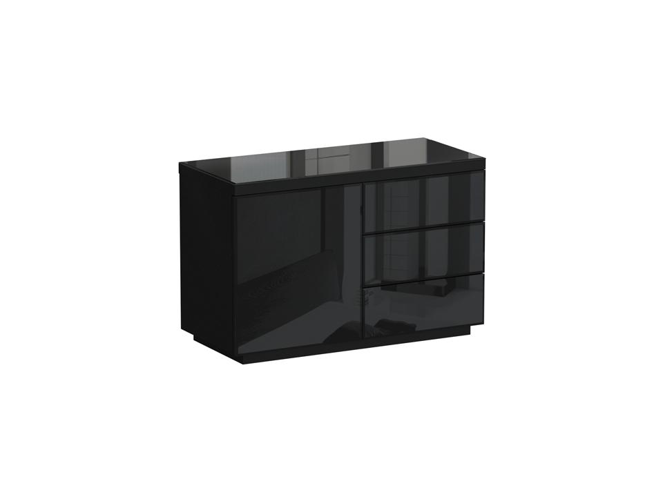 Сервант KristalНизкие буфеты<br>Сервант с одним отделением и тремя выдвижными ящиками. В отделении расположена съемная полка. Дверь, фасадные стенки ящиков и верхняя поверхность серванта декорированы стеклом. Дверь и ящики открываются по принципу «нажал-открыл»<br><br>Material: ДСП<br>Ширина см: 119<br>Высота см: 77<br>Глубина см: 53