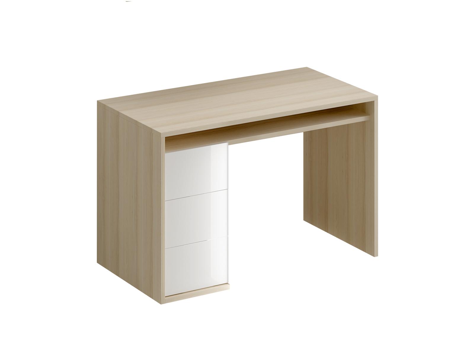 Стол письменный Mix PlusПисьменные столы<br>Стол письменный с одной тумбой. В тумбе расположено три выдвижных ящика. Под столешницей имеется ниша. В столешнице имеется отверствие для вывода кабеля<br><br>Material: ДСП<br>Ширина см: 118<br>Высота см: 76<br>Глубина см: 60