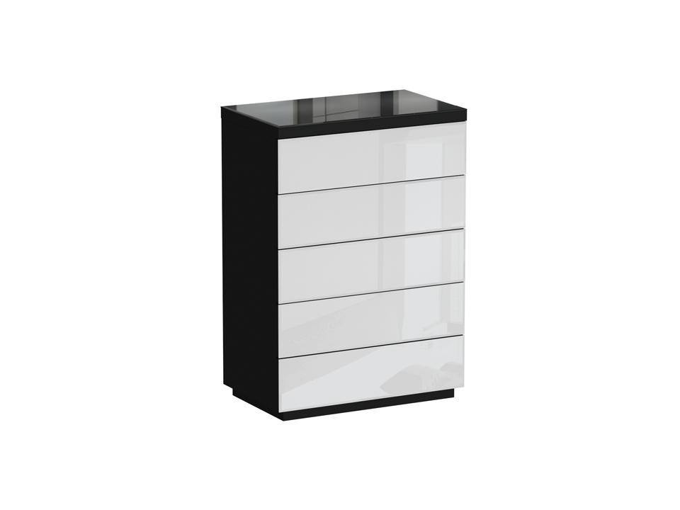 Комод KristalБельевые комоды<br>Комод 5 ящиков. Фасадные стенки ящиков и верхняя поверхность комода декорированы стеклом. Ящики открываются по принципу «нажал - открыл». Комод можно крепить к стене.<br><br>Material: ДСП<br>Ширина см: 86<br>Высота см: 122<br>Глубина см: 53