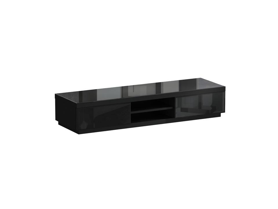 Тумба для ТВ KristalТумбы под TV<br>Тумба для телеаппаратуры с двумя выдвижными ящиками и полкой между ними. Фасадные стенки ящиков и верхняя поверхность тумбы декорированы стеклом. Ящики открываются по принципу «нажал-открыл».<br><br>Material: ДСП<br>Ширина см: 167<br>Высота см: 32<br>Глубина см: 50