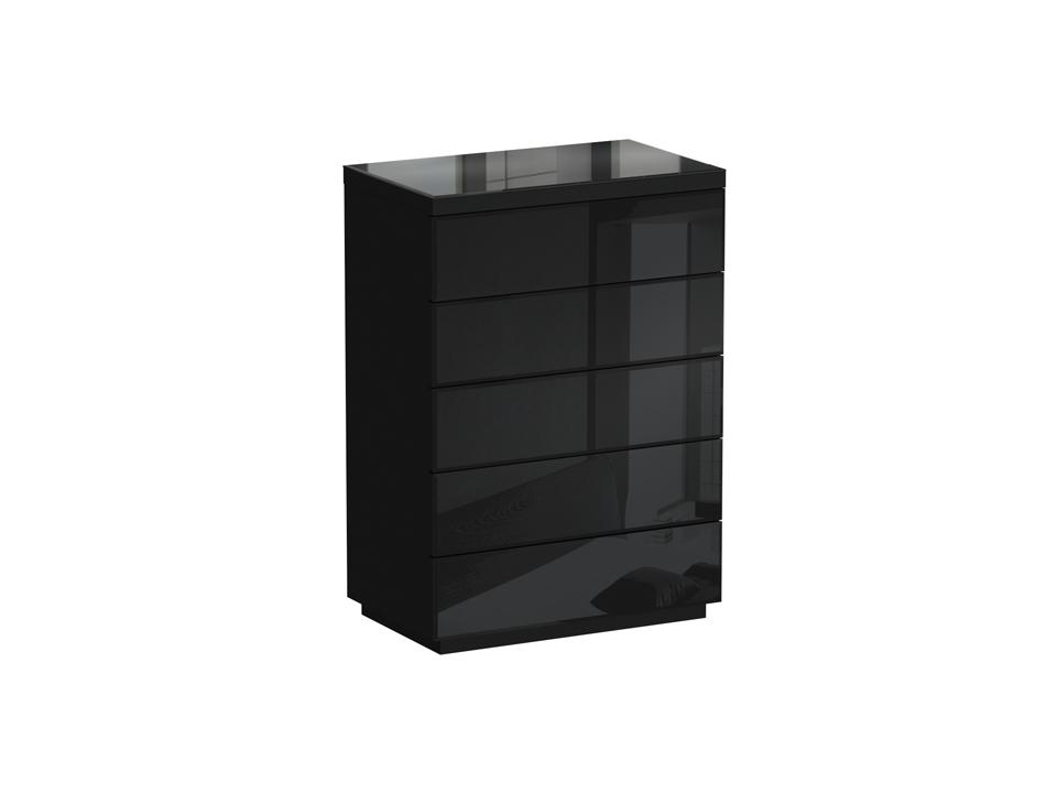 Комод KristalБельевые комоды<br>Это настоящий бриллиант среди комодов: угольно-черный цвет напоминает об истоках появления кристаллов. Шкафчики открываются от нажатия, поэтому лишних деталей в этом комоде нет. По желанию, его можно прикрепить к стене.<br><br>Material: ДСП<br>Width см: 86<br>Depth см: 53<br>Height см: 122