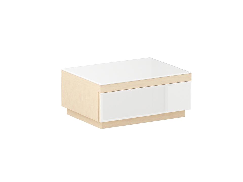 Тумба KristalПрикроватные тумбы<br>Тумба прикроватная с выдвижным ящиком. Фасад ящика и верхний щит декорированы стеклом. Ящик открывается по принципу «нажал - открыл».<br><br>Material: ДСП<br>Width см: 59<br>Depth см: 46<br>Height см: 28