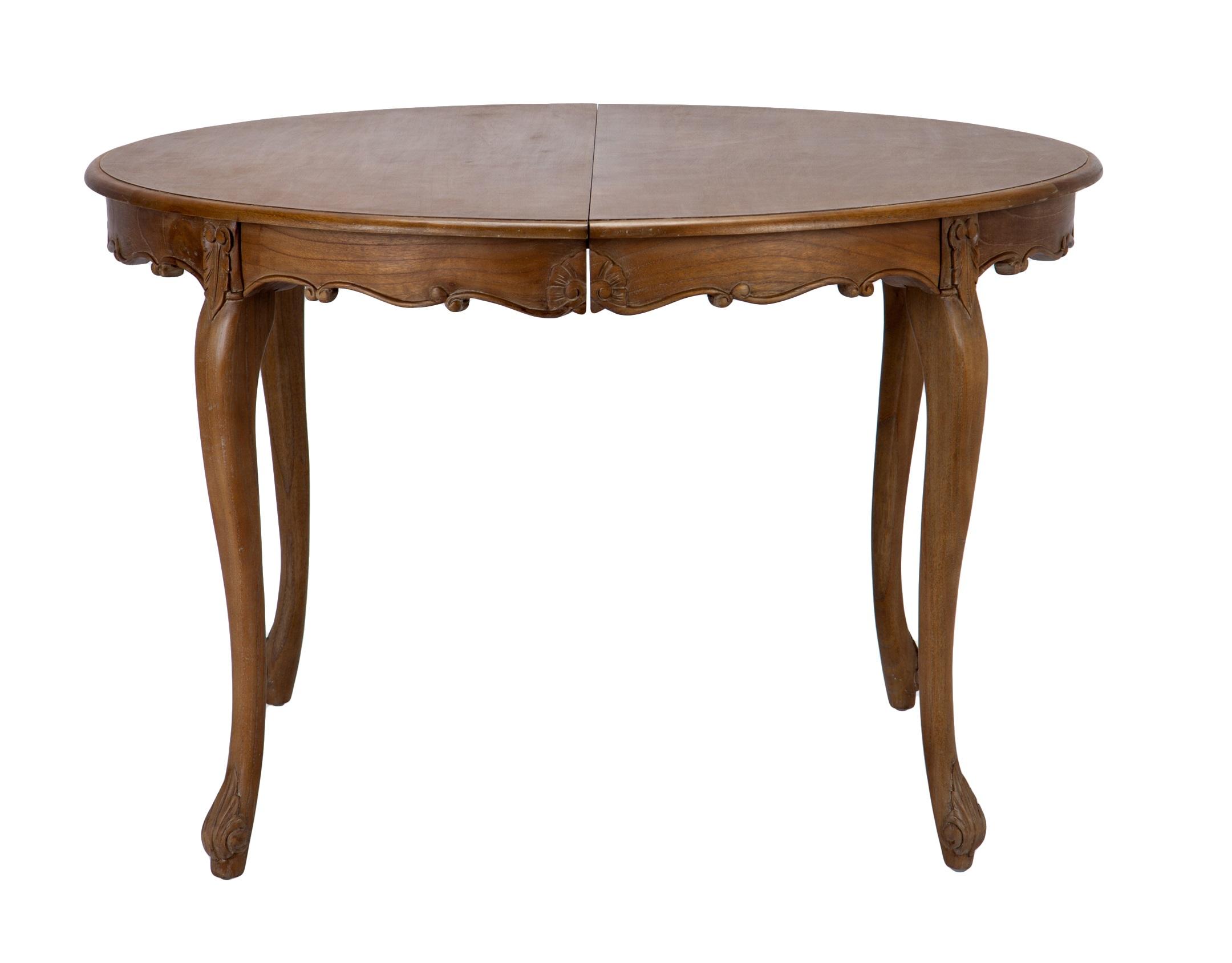 Стол обеденныйОбеденные столы<br>Стол обеденный круглый раздвижной из дерева минди, раскладывается в овальный, украшен резьбой ручной работы.&amp;lt;div&amp;gt;Материал: дерево минди&amp;lt;br&amp;gt;&amp;lt;/div&amp;gt;<br><br>Material: Дерево<br>Length см: None<br>Width см: None<br>Height см: 77<br>Diameter см: 120