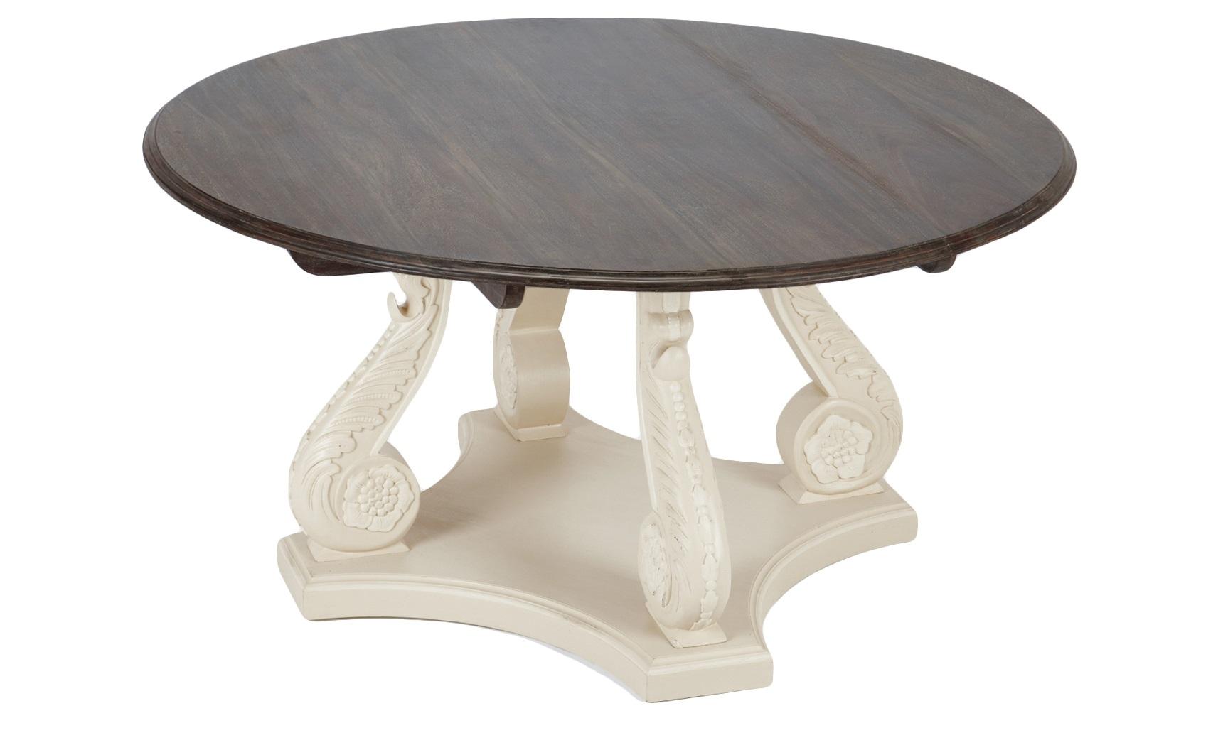 Стол обеденныйОбеденные столы<br>Стол обеденный круглый в классическом стиле на резном подстолье из дерева махагони. Декорирован старением.<br><br>Material: Красное дерево<br>Height см: 77<br>Diameter см: 150