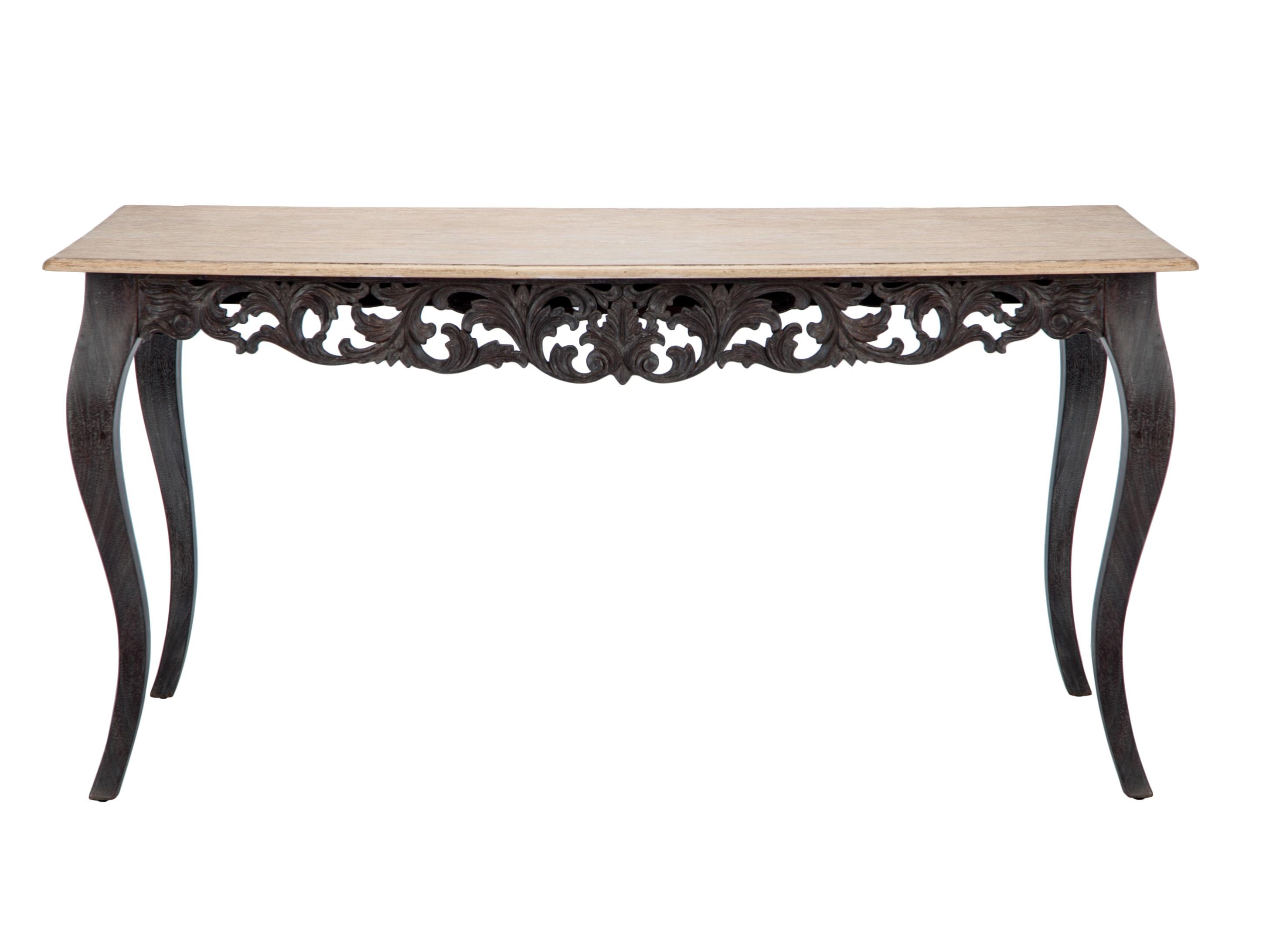 Стол обеденный «Сицилия»Обеденные столы<br>Стол обеденный прямоугольный из дерева махагони, украшен резьбой ручной работы. Столешница декорирована шпоном дерева минди.<br><br>Material: Красное дерево<br>Ширина см: 160<br>Высота см: 77<br>Глубина см: 80