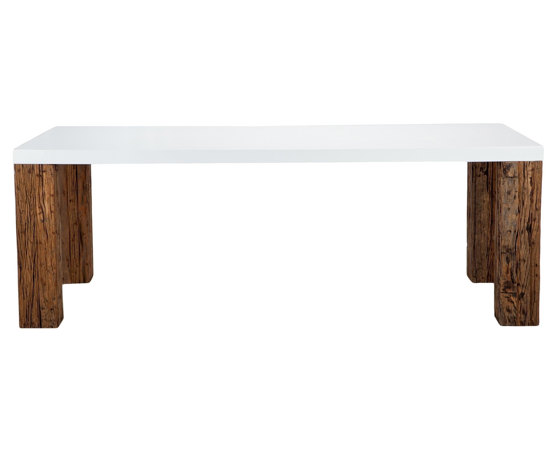 Стол обеденныйОбеденные столы<br>Прямоугольный обеденный стол на ножках из состаренного тика (шпаловое дерево). Глянцево-белая столешница.<br><br>Material: МДФ<br>Length см: None<br>Width см: 220<br>Depth см: 100<br>Height см: 76